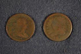 2 Half Cents: 1804 Draped Bust, 1809 Classic Head