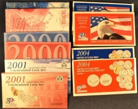 Ten Us Uncirculated Coin Sets: 1999 - 2001 Pd, 2003 -