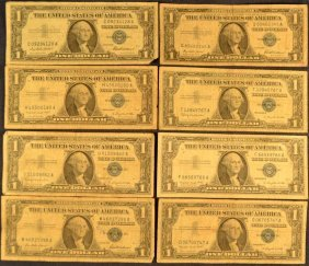Eight Series 1957 $1 Silver Certificates