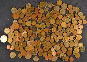 Collection Of Foreign Coins And Tokens