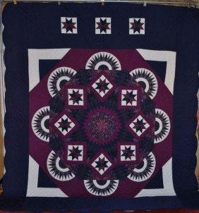 Amish Made Patchwork Quilt, Splendid Star - Ravens