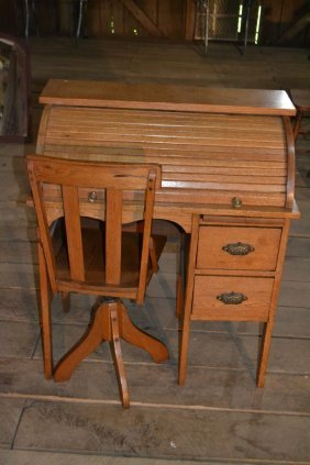 Child's Oak Roll Top Desk And Chair