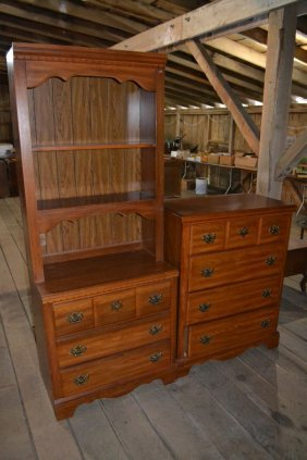 Oak Finish Four Drawer Chest And Three Drawer Book Case