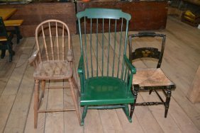 Three Items: High Chair, Painted Rocking Chair,