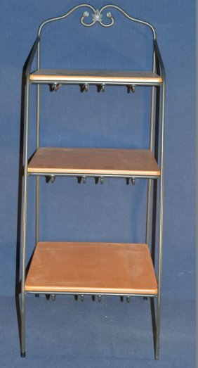 Longaberger Wrought Iron And Wood Three Tier Stand