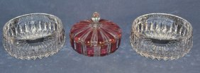 Two Lead Crystal Bowls And Covered Candy Dish