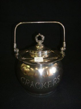 AMERICAN VICTORIAN SILVERPLATE CRACKER JAR