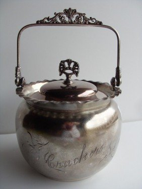 "SILVERPLATE JAR ""CRACKERS"""