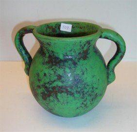 WELLER DOUBLE HANDLED POTTERY VASE