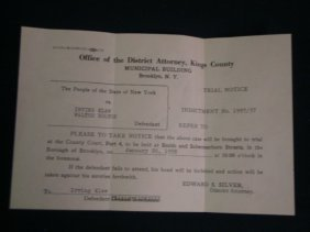 Trial Notice To Irving Klaw