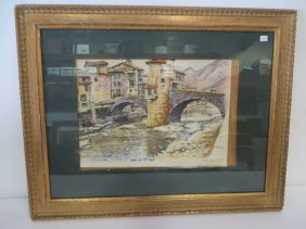 Joseph Margullies Watercolor. Signed