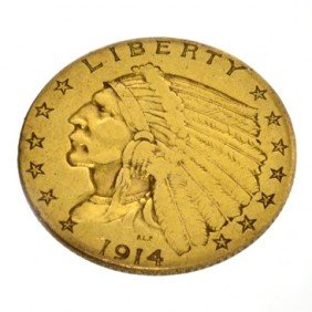 1914  $2.5 U.S. Indian Head Gold Coin - Investment