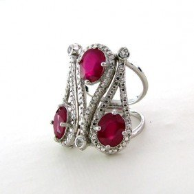 APP: 11k 5CT Ruby W/Clear Topaz, & Overlaid Silver Ring