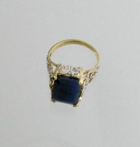 APP: 5.2k 14 Kt. Gold, 10.75CT Blue Sapphire Ring
