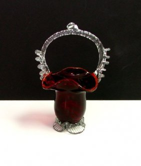Ruby Crystal Footed Basket