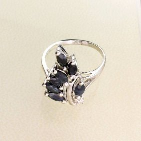 APP: 1.1k 1.74CT Blue Sapphire & Sterling Silver Ring