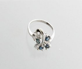 APP: 2k 0CT Pear Cut Sapphire & Sterling Silver Ring