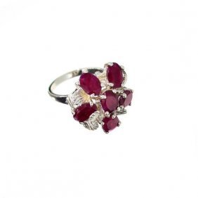 APP: 6.4k 8.82CT Oval Cut Ruby Sterling Silver Ring