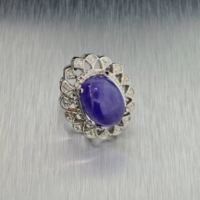 APP: 19k 14kt White Gold, 18CT Cabochon Tanzanite Ring