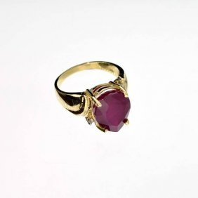 APP: 10.8k 14 Kt. Yellow & White Gold, 7.01CT Ruby Ring