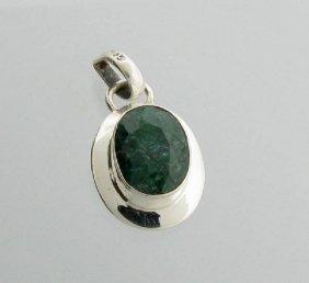 APP: 1k 7CT Oval Cut Grn Sapphire & Silver Pendant