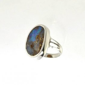 APP: 14.2k 3.33CT Boulder Opal & Sterling Silver Ring