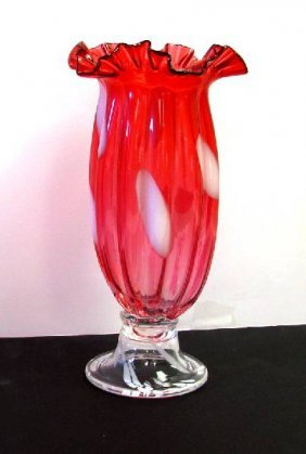 Vase- Cran Opal Glass 5x12 H
