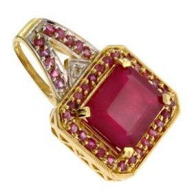 APP: 17k 14kt Yellow & White Gold, 22.82CT Ruby Pendant