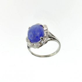 APP: 10k 14kt White Gold, 5CTOval Cut Tanzanite Ring