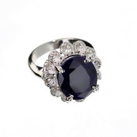 APP: 15k 9CTOval Cut Sapphire & Sterling Silver Ring