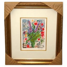 Chagall 'Les Lupins Blue' Museum Framed Giclee-Ltd Edn