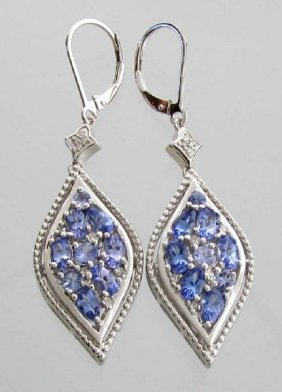 APP: 2k 3CT  Tanzanite & Diamond Sterl Silver Earrings