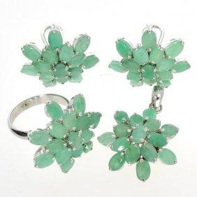 APP: 26k 23CT Emerald Ring, Pendant, & Earrings Set