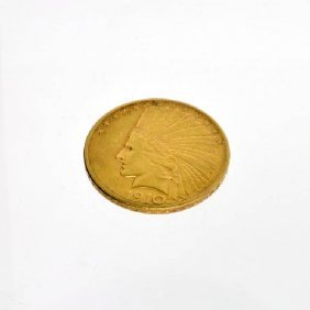 1910-D $5 U.S. Indian Head Gold Coin - Investment
