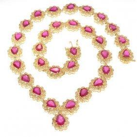 APP: 27k *14 Kt Gold, 32CT Ruby & 4CT Diamond Necklace