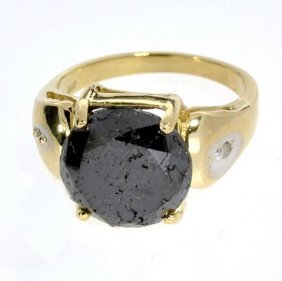 APP: 16k 14kt Yellow & White Gold, Black Diamond Ring