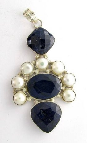 APP: 30k 48CT Mixed Cut Sapphire & Pearl Silver Pendant