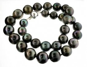 APP: 21k Pearl Necklace W/Solid Silver Ball Clasp