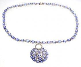 APP: 69k *14 KCT Mixed Cut Tanzanite & Diamond Necklace