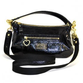 Coach's Daisy Liquid Gloss Black Leather Purse