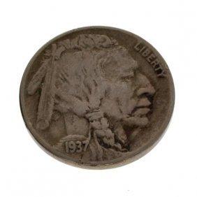 1937-D U.S Five Cents 3 Legs Buffalo Type Coin