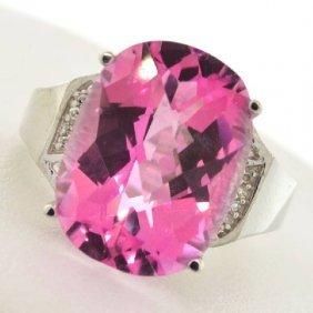APP: 5k 13k Topaz & Diamond Plat Over Sterl Silver Ring