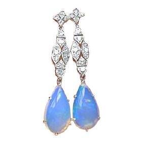 Art Deco Style 18k Gold Diamond Opal Earrings