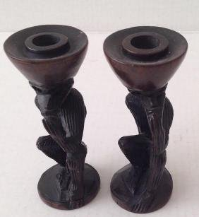 African (2) Candle Holders – Monkey Carved Sculptors 6""
