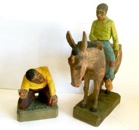 Folk Art Carvings, Signed & Dated