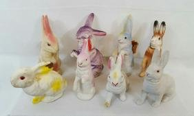 Group Of 8 German Easter Bunny Candy Containers
