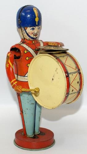 Vintage CHEIN Tin Litho #110 Mechanical Drummer Toy