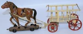 Vintage (1910s) German Wood Horse Drawn Tin Plate Wagon