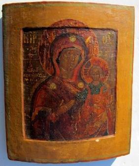 Smolensk Mother Of God Hodegetria Russian Icon, 18th C