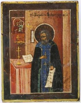 Saint Kirill Belozerskiy Russian Icon, 19th C